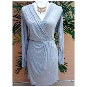 Haute Hippie Ruched Grey Knit Side Mini Dress M